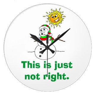 Humor engraçado do boneco de neve apenas nao direi relógios para paredes