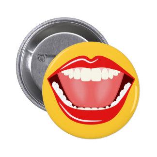 Humor grande da boca que ri botões redondos bóton redondo 5.08cm