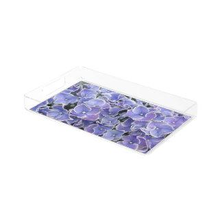Hydrangea azul com a bandeja branca da vaidade da