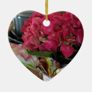 Hydrangea da cozinha ornamento de cerâmica coração
