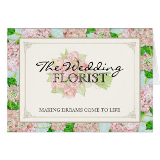 Hydrangea do rosa do buquê do negócio do casamento cartão de nota