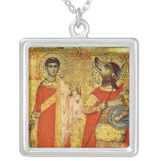 Ícone de St Stephen com soldado Colar Com Pendente Quadrado