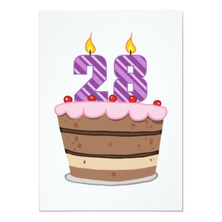 Idade 28 no bolo de aniversário convite 12.7 x 17.78cm