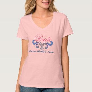 Ideia nupcial do design do t-shirt do casamento do