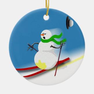 Ideias do presente do tema do esqui ornamento de cerâmica redondo