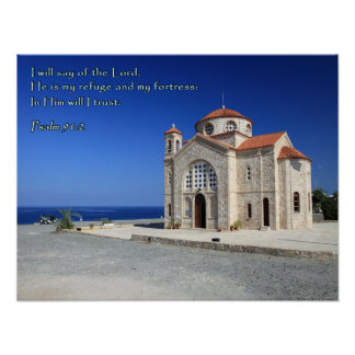 Igreja de Chipre do 91:2 do salmo Pôster