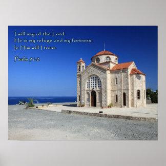 Igreja de Chipre do 91:2 do salmo Poster