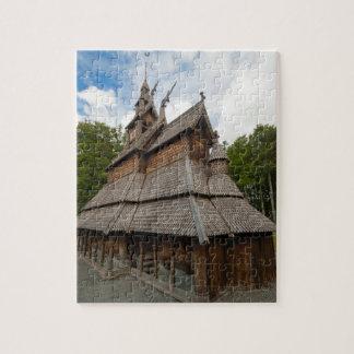 Igreja do Stave de Fantoft em Bergen, Noruega Quebra-cabeça