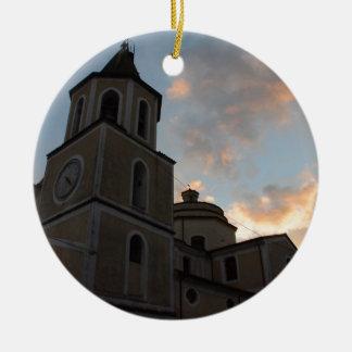 Igreja italiana bonita ornamento de cerâmica redondo
