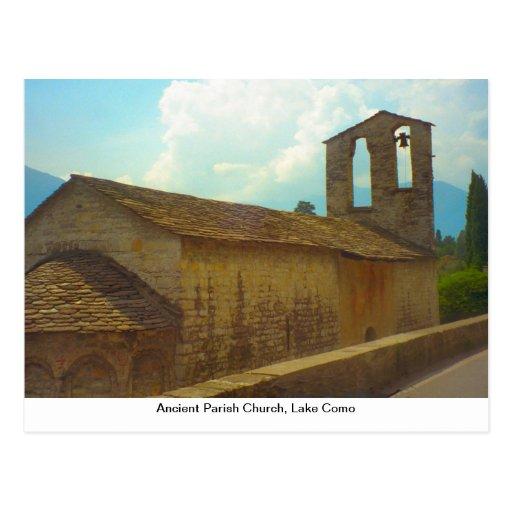 Igreja paroquial antiga, lago Como Cartões Postais