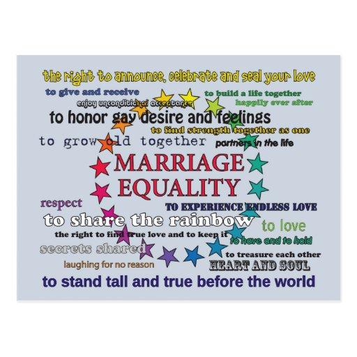 Igualdade do casamento cartoes postais