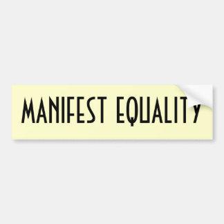 Igualdade manifesta adesivo para carro