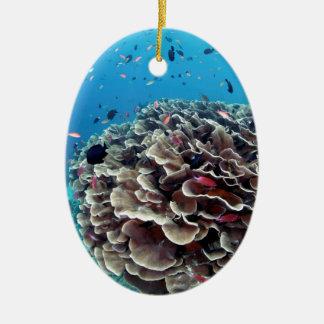 Ilha coral ornamento de cerâmica oval