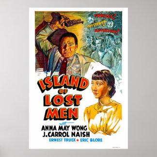 Ilha de cartaz cinematográfico perdido do vintage  impressão
