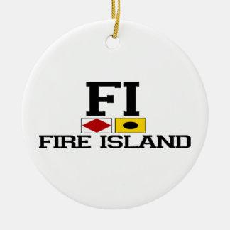 Ilha do fogo ornamento de cerâmica redondo