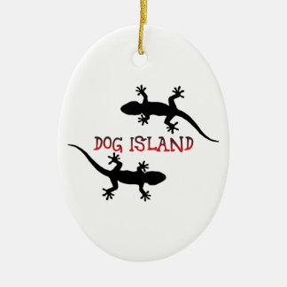 Ilha Florida. do cão Ornamento De Cerâmica Oval