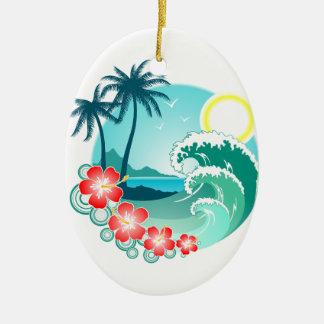 Ilha havaiana 2 ornamento de cerâmica oval
