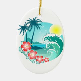 Ilha havaiana 3 ornamento de cerâmica oval
