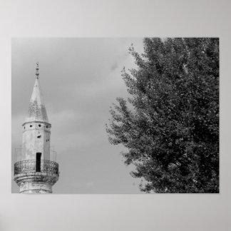 Ilha preto e branco da piscina da foto da arte do poster