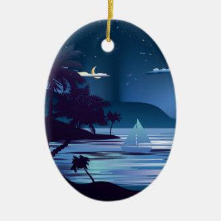 Ilha tropical em Night2 Ornamento De Cerâmica Oval