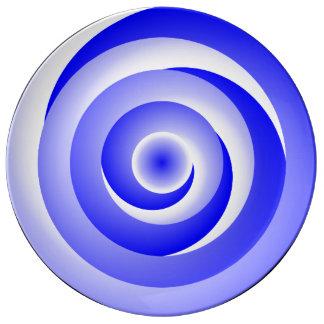 Ilusão espiral azul por Kenneth Yoncich Pratos De Porcelana