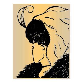 Ilusão, jovem, cartão da mulher adulta