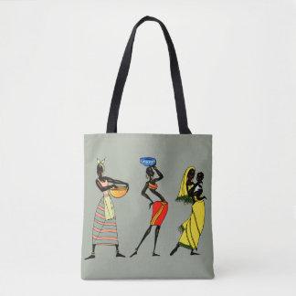 Ilustração africana das mulheres bolsa tote