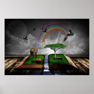 Ilustração artística da fantasia do livro da posteres