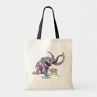 Ilustração colorida do elefante do vintage bolsa tote
