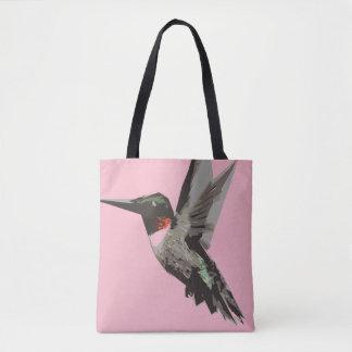Ilustração da arte do polígono do colibri bolsa tote