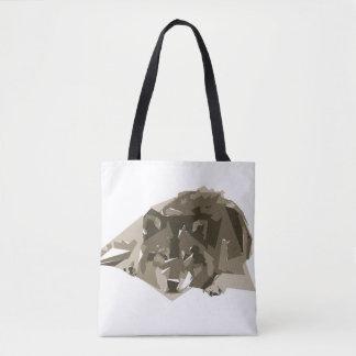 Ilustração da arte do polígono do lobo bolsa tote