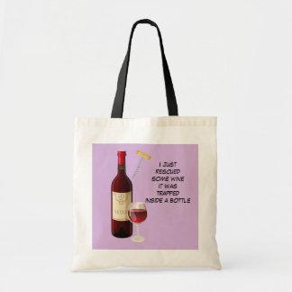 Ilustração da garrafa e do vidro de vinho bolsa tote