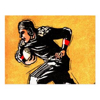 Ilustração da grelha 30s do vintage do jogador de cartão postal