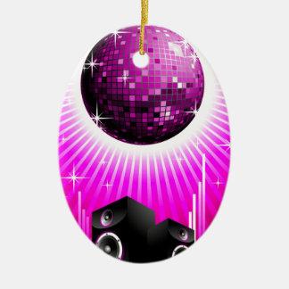 ilustração da música com a bola do auto-falante e ornamento de cerâmica oval