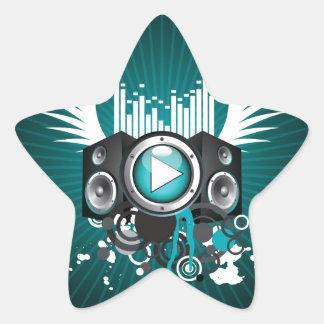 ilustração da música com auto-falante e asas adesito estrela