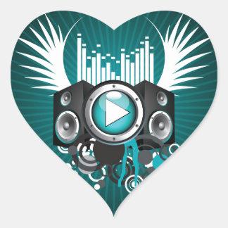 ilustração da música com auto-falante e asas adesivo coração