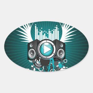 ilustração da música com auto-falante e asas adesivo oval
