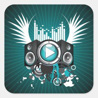 ilustração da música com auto-falante e asas adesivo quadrado