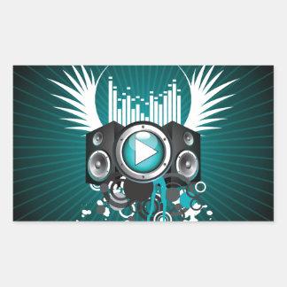 ilustração da música com auto-falante e asas adesivo retangular