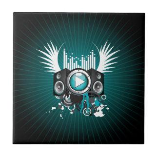ilustração da música com auto-falante e asas azulejo quadrado pequeno
