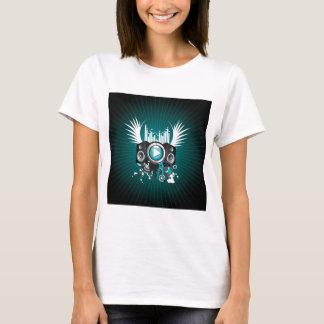 ilustração da música com auto-falante e asas camiseta