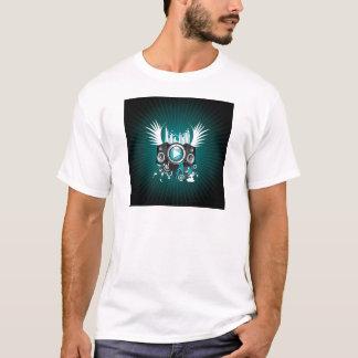 ilustração da música com auto-falante e asas camisetas