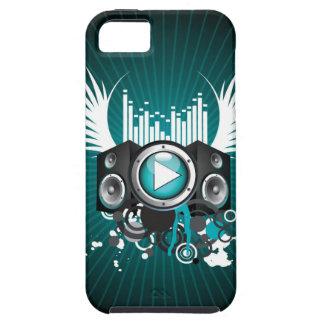ilustração da música com auto-falante e asas capa tough para iPhone 5