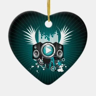 ilustração da música com auto-falante e asas ornamento de cerâmica coração