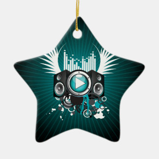 ilustração da música com auto-falante e asas ornamento de cerâmica estrela