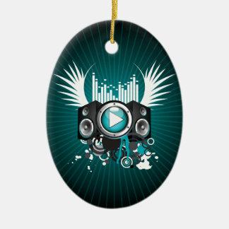 ilustração da música com auto-falante e asas ornamento de cerâmica oval