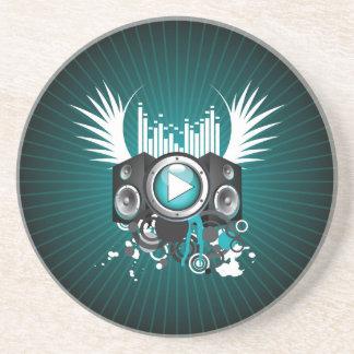 ilustração da música com auto-falante e asas porta copos de arenito