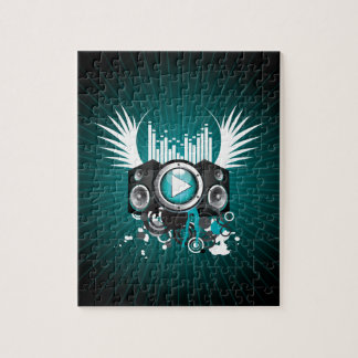 ilustração da música com auto-falante e asas quebra-cabeça de foto
