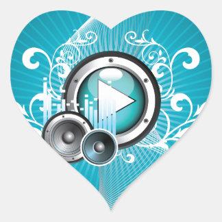 ilustração da música com auto-falante e elemento adesivo coração