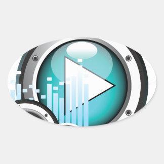 ilustração da música com auto-falante e elemento adesivo oval